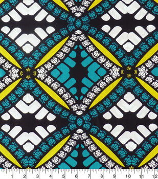Global Cotton Shirting Fabric-Teal, Black & White Diamonds