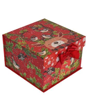 Maker's Holiday Christmas Large Mini Fliptop Storage Box-Reindeer