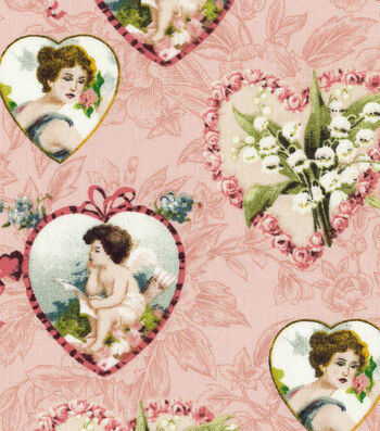 Valentine's Day Fabric 43''-Pink with Vintage Hearts