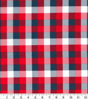 Patriotic Cotton Fabric-Patriotic Buffalo Check
