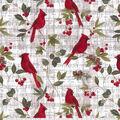 Christmas Cotton Fabric-Cardinals on Music