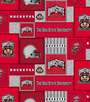 Ohio State Buckeys Fleece Fabric-College Patch