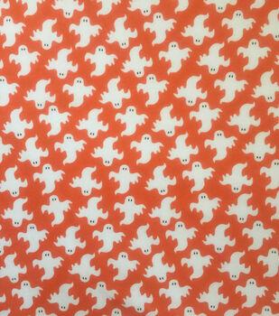 Halloween Doodles Cotton Interlock Fabric-White Ghosts on Orange