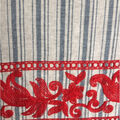 Linen Fabric with Red Embroidery Border-Blue Stripes