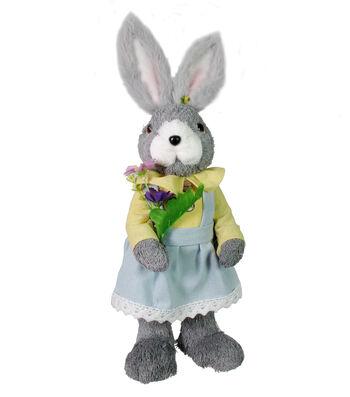 Easter Decor Sisal Girl Bunny-Gray
