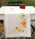 Vervaco 16\u0027\u0027x40\u0027\u0027 Stamped Table Runner Cross Stitch Kit-Pumpkins