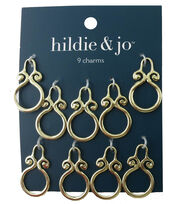 hildie & jo 9 Pack Scroll Round Charms-Gold, , hi-res