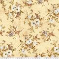 Premium Wide Cotton Fabric-White Floral with Vine Bouquet on Cream