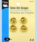 Dritz Sew On Snaps Gold Size 4