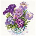 RIOLIS 17.75\u0027\u0027x17.75\u0027\u0027 Counted Cross Stitch Kit-Irises in Vase
