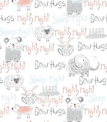 Nursery Flannel Fabric-Whimsy Animal Words