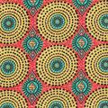 Cotton Shirting Fabric-Red Green Global Circles Metallic