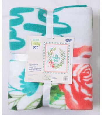 No Sew Fleece Throw 72''-Watercolor Floral