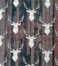 Anti-Pill Plush Fleece Fabric-Everest Stag On Wood