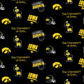 University of Iowa Hawkeyes Cotton Fabric -Black