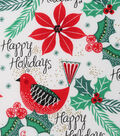 Christmas Cotton Fabric-Happy Holiday Cardinals
