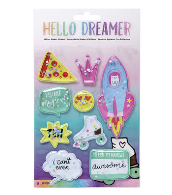 American Crafts Hello Dreamer 9 pk Glitter Shaker Stickers