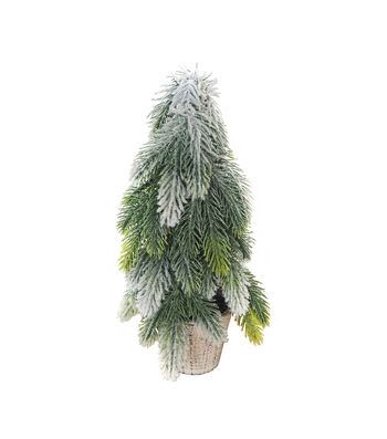 Blooming Holiday Christmas Small Flocked Glitter Pine Tree
