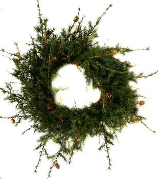 Handmade Holiday Christmas Primitive Pine Needle Wreath-Deep Green