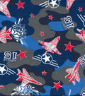 Snuggle Flannel Fabric -Red & Blue Airplane Camouflage