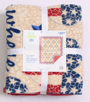 No Sew Throw Fleece Kit-Flag Hearts & Home is Where the Heart Is
