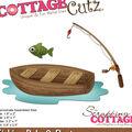 CottageCutz Die-Fishing Pole & Boat .8\u0022 To 3.3\u0022