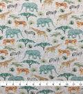 Doodles Juvenile Apparel Fabric-Jungle Animals on Heather Gray