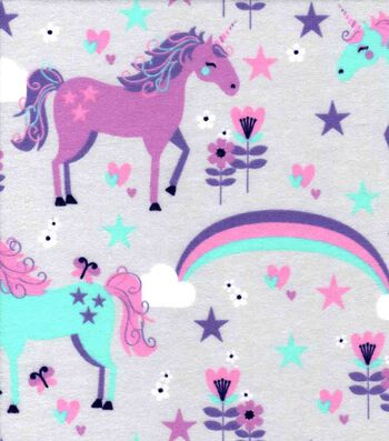 Snuggle Flannel Fabric 42''-Glam Unicorns on Gray