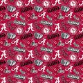 University of Alabama Crimson Tide Cotton Fabric-Tone on Tone