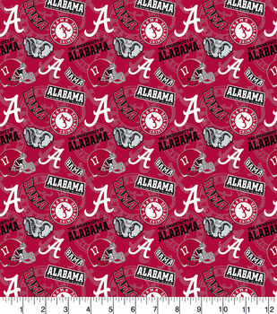 University of Alabama Crimson Tide Cotton Fabric-Tone on Tone