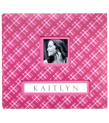 "K&Company Pink Plaid Frame-A-Name 12""x12"" Scrapbook"