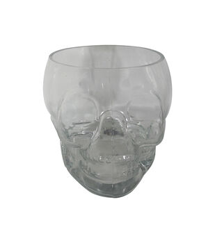 Maker's Halloween Glass Skeleton Serving Punchbowl-Clear