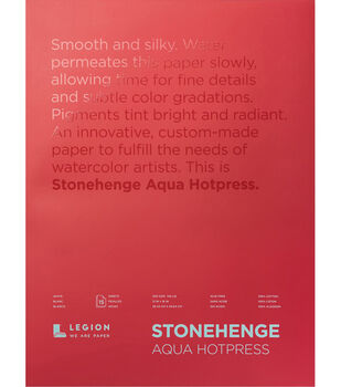 Legion Paper Stonehenge Aqua Hotpress 15-sheet 12''x16'' 140 lb Pad