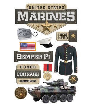 Paper House 4.5''x8.5'' 3D Stickers-United States Marines