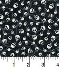 Halloween Cotton Fabric 43\u0022- Glow In The Dark Mini Tossed Skulls