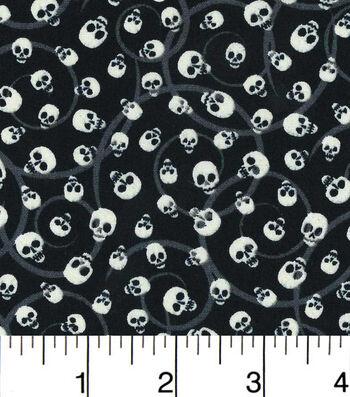 Halloween Cotton Fabric - Glow In The Dark Mini Tossed Skulls