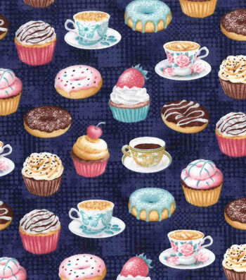 Premium Prints Cotton Fabric-Tea & Desserts