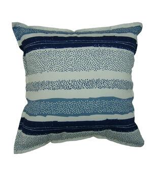 "Patio Oasis 17""x17"" Navy Texture Stripe Outdoor Pillow"