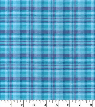 Snuggle Flannel Fabric -Aqua Plaid