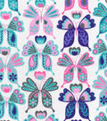 Snuggle Flannel Fabric -Pastel Patterned Butterflies