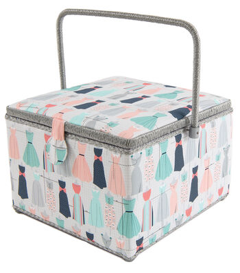 Square Sewing Basket-Dress Prints on Gray