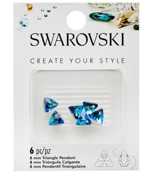 Swarovski Create Your Style 6 pk 8mm Triangle Pendants-Bermuda Blue