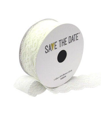 """Save the Date 1.5"""" x 15ft Ribbon-White Lace"""