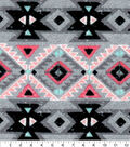 Flannel Fabric-Pink, Gray & Turquoise Tribal