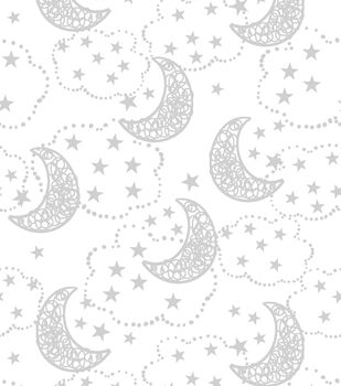 Nursery Flannel Fabric Wood Gray Moons