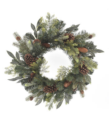 Blooming Holiday Christmas 24'' Mixed Greenery & Pinecone Wreath