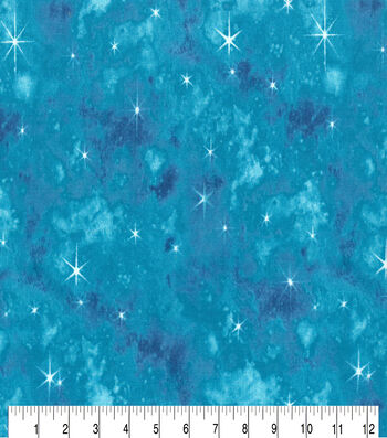 Premium Cotton Fabric-Teal Mermaid Galaxy