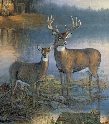 Novelty Cotton Fabric 44''-Deer At The Lodge