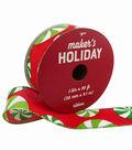 Maker\u0027s Holiday Christmas Ribbon 1.5\u0027\u0027x30\u0027-Tossed Peppermints on Red