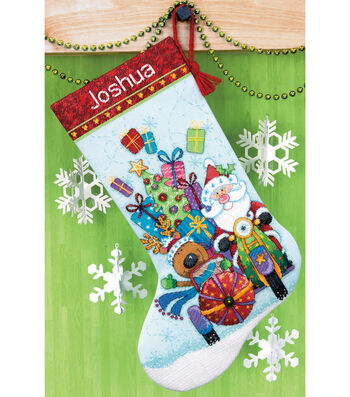 "Santa's Sidecar Stocking Counted Cross Stitch Kit-13""X20"" 14 Count"
